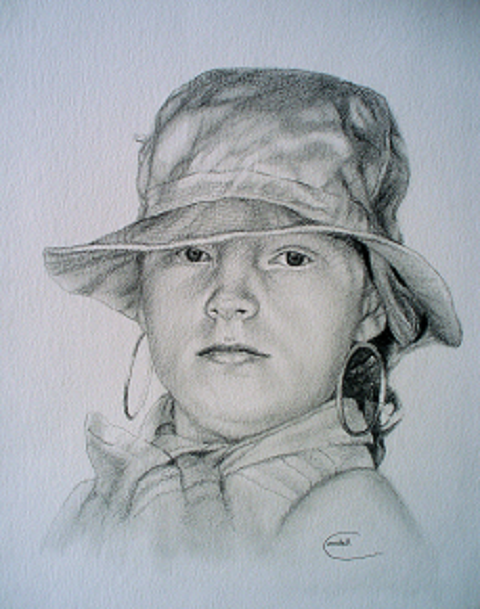 Drawing portrait young girl