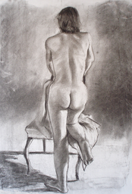 Drawing charcoal life model
