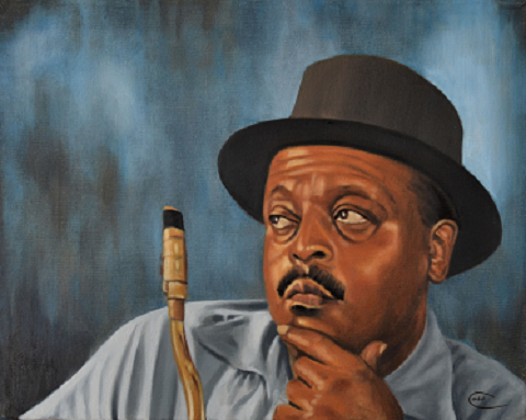 Portrait painting of Ben Webster jazz