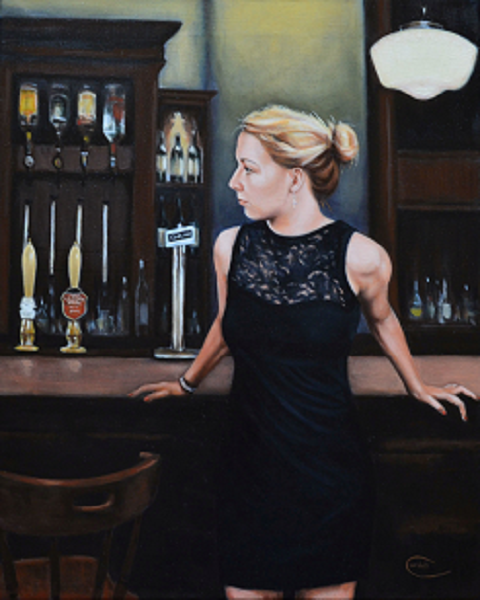 Painting portrait of woman in bar