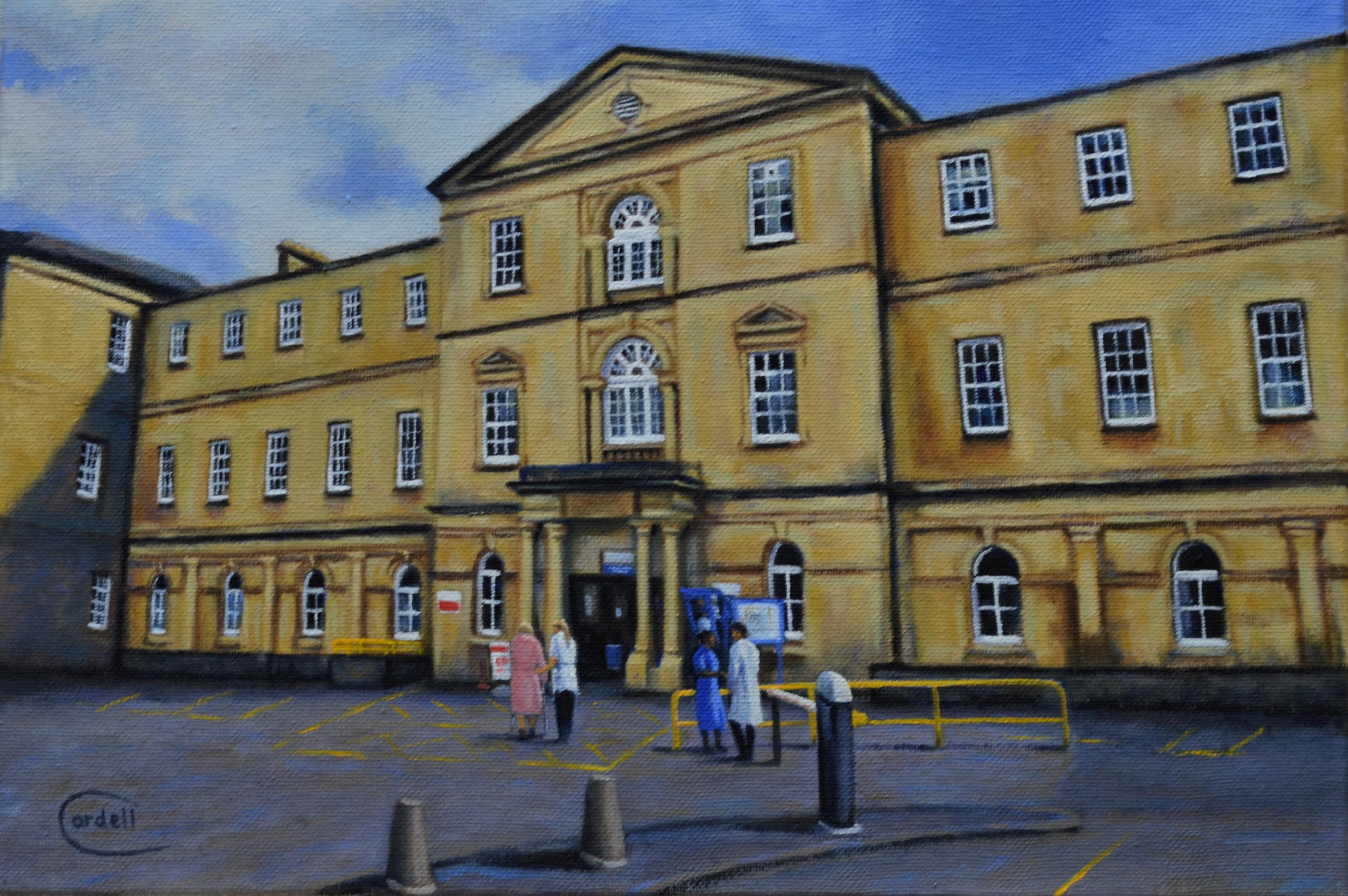 Oil painting Northampton General Hospital landscape painting