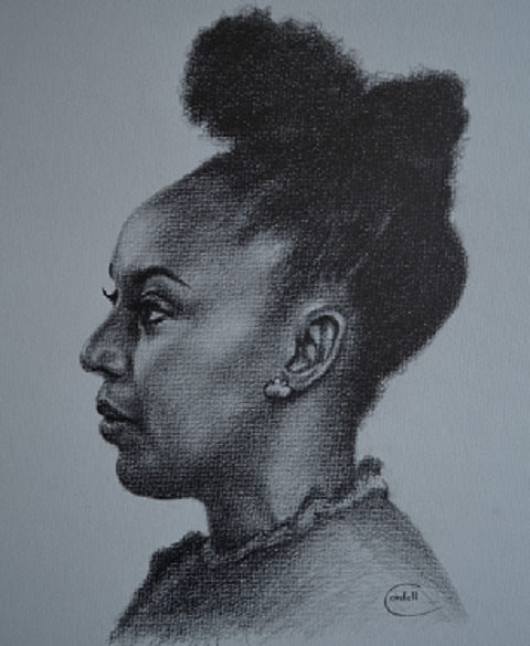 Drawing portrait black woman