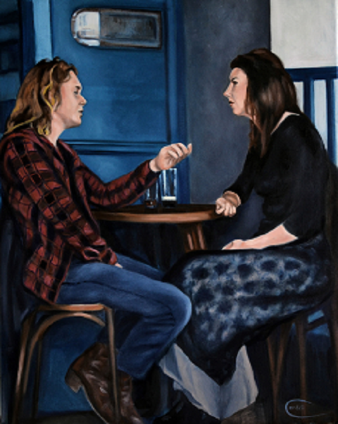 Portrait painting of couple in a bar