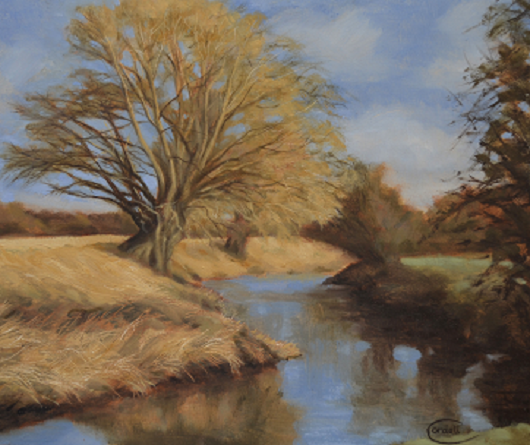 Landscape painting River Nene at Flore