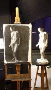 Charcoal drawing of cast model