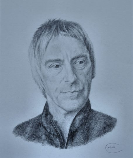 Paul Weller portrait pencil drawing. British Rock musician and icon.