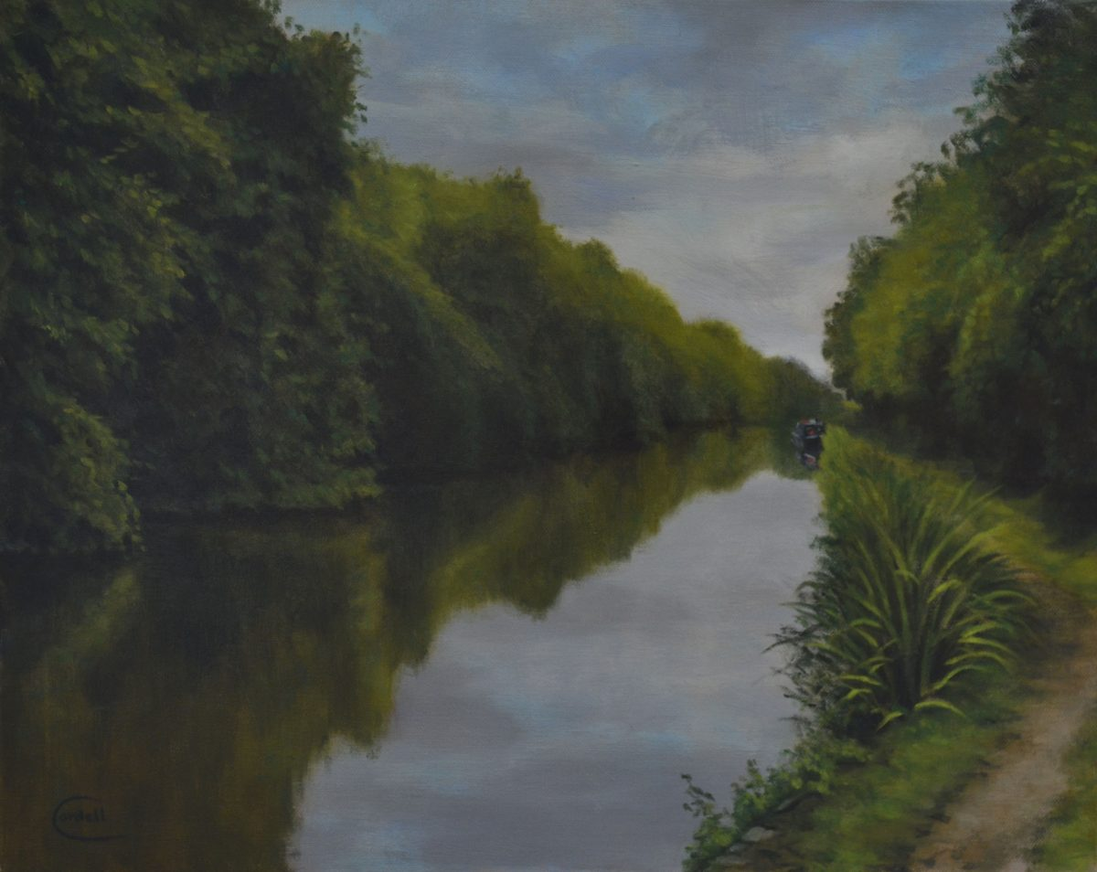 Grand Union canal at Milton Malsor Northamptonshire oil painting landscape