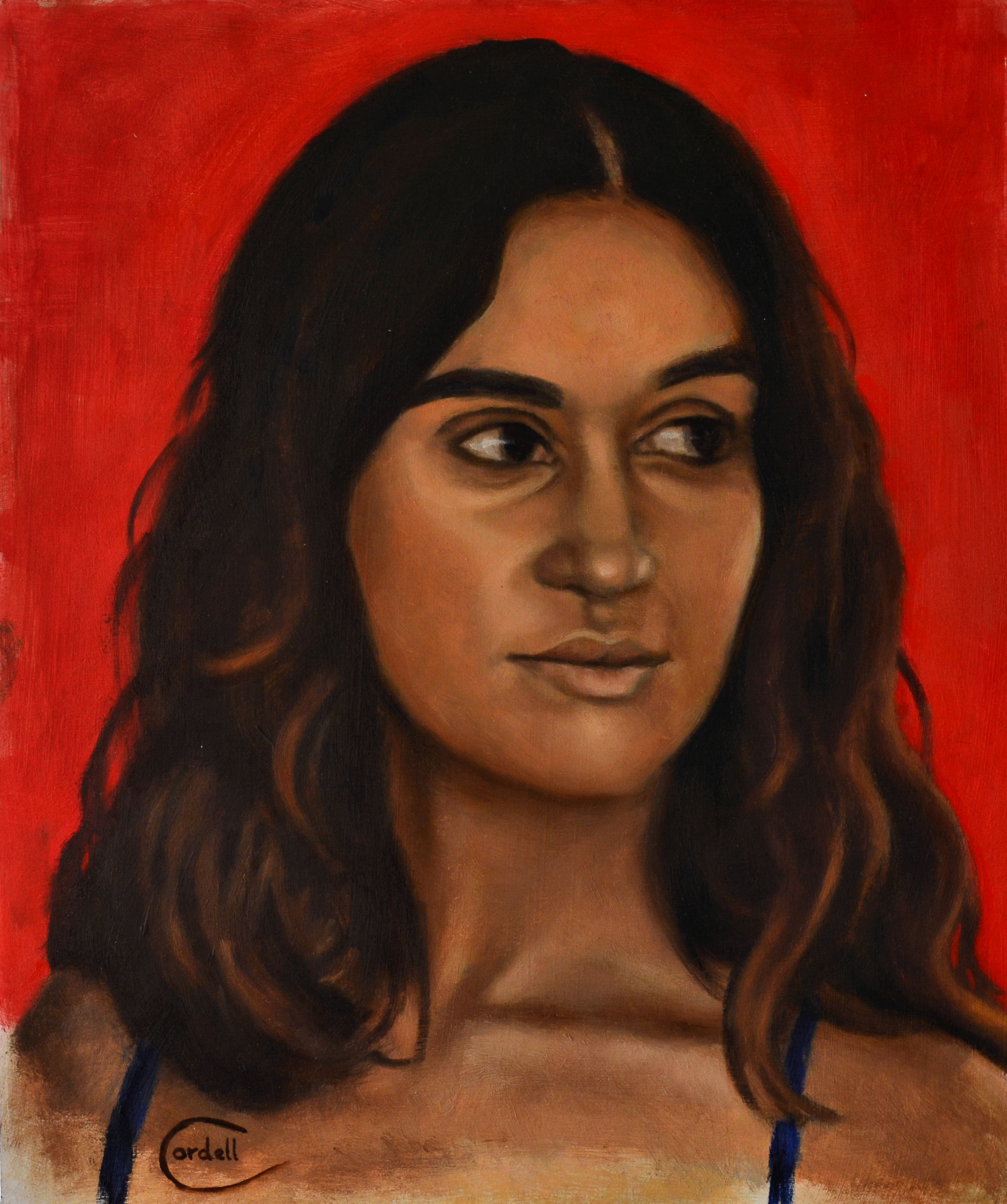 Oil painting portrait of Sabrina.