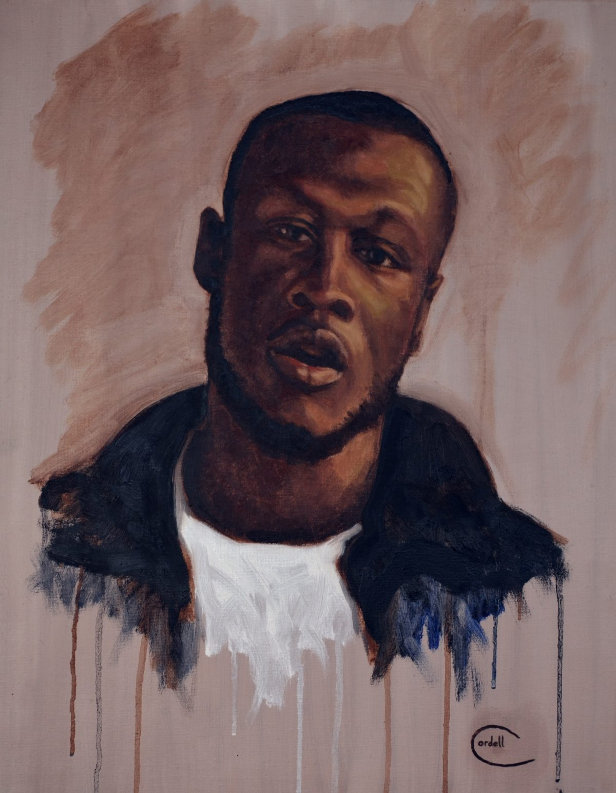 Stormzy oil painting portrait