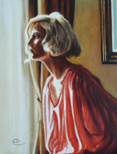 Portrait painting of woman looking away