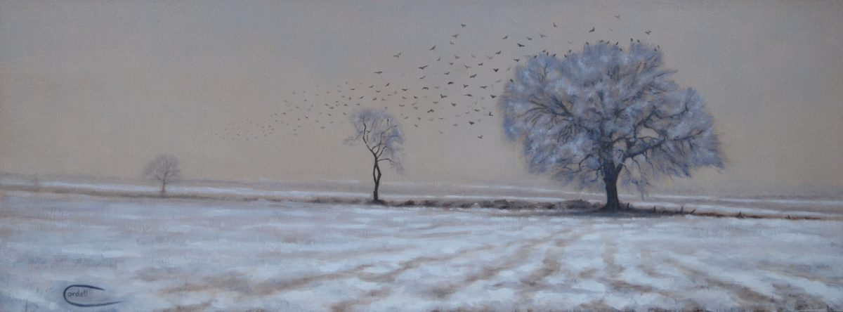 Oil painting landscape snow at Boughton