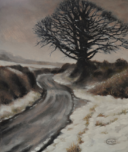 Landscape painting snow Hanging Houghton