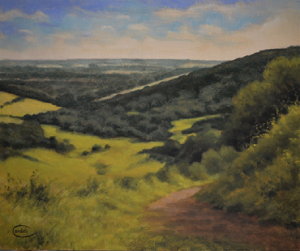 Landscape painting towards Chichester from Kingley Vale