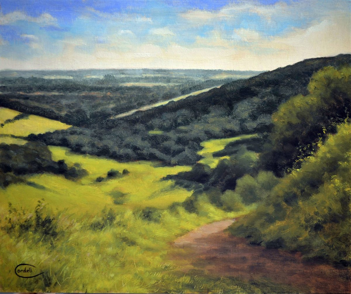 Landscape oil painting. Kingley Vale towards Chichester