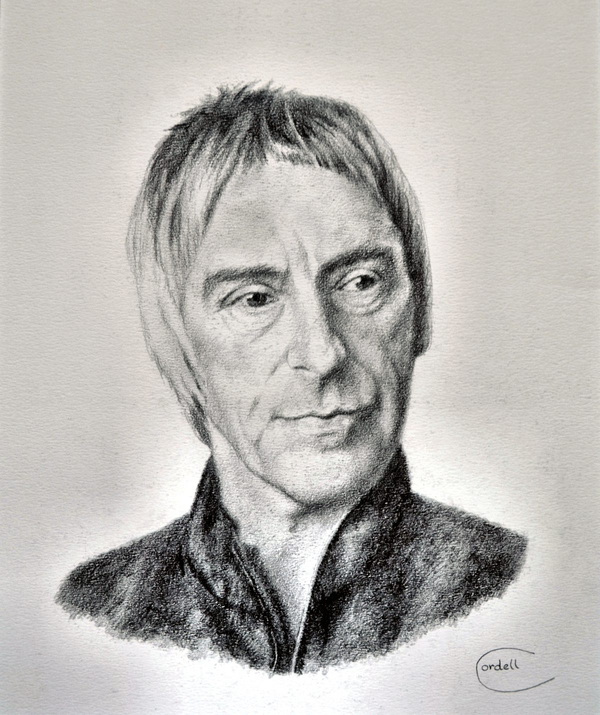 Pencil drawing portrait. Rock icon. Paul Weller.